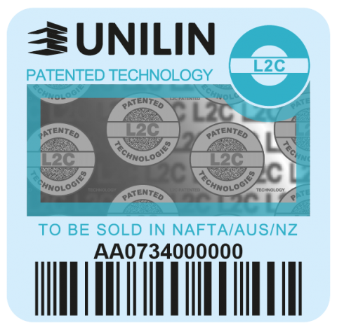 Blue Unilin label