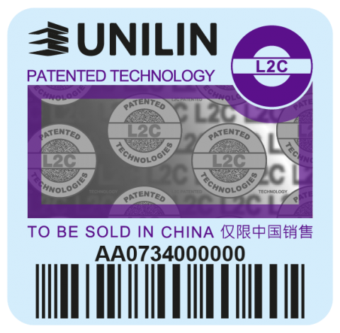 Purple Unilin label