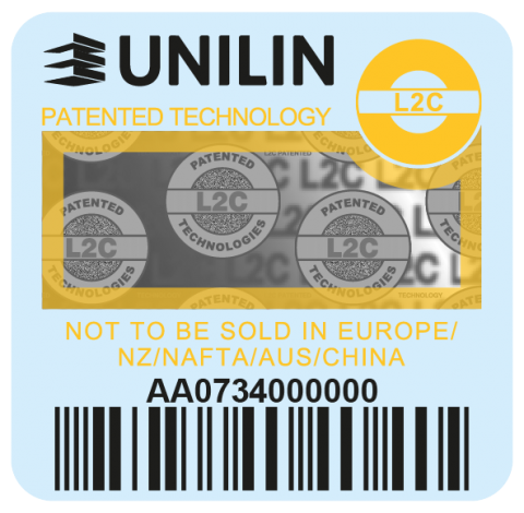 Yellow Unilin label